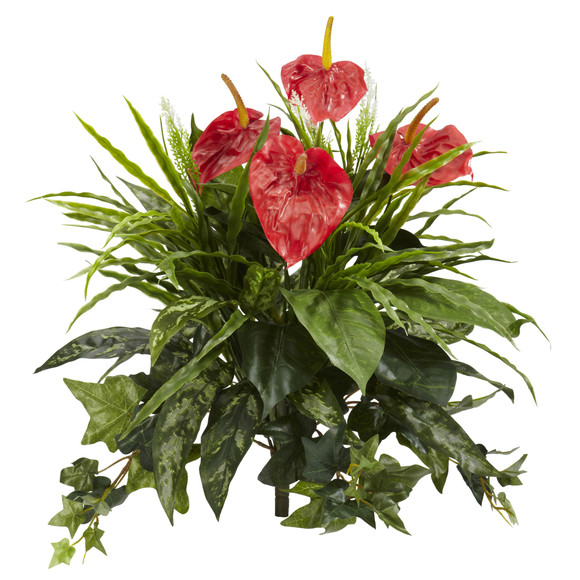 24 Mixed Anthurium Artificial Plant Set of 2 - SKU #6072-S2