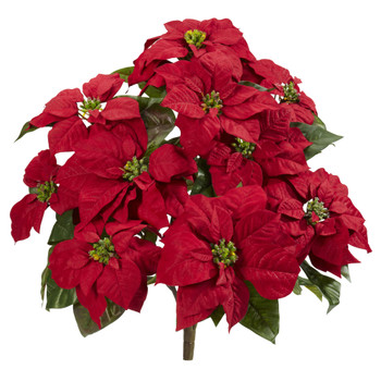 24 Poinsettia Artificial Plant Set of 2 - SKU #6077-S2