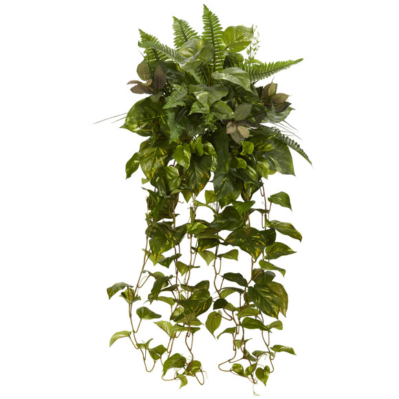 36 Mixed Greens Hanging Artificial Plant Set of 2 - SKU #6082-S2