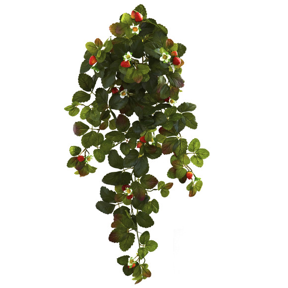 31 Strawberry Hanging Bush with Berry Set of 2 - SKU #6115-S2