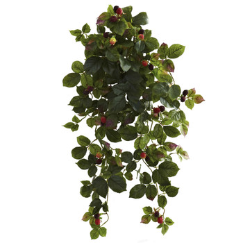32 Raspberry Hanging Bush with Berry Set of 2 - SKU #6116-S2