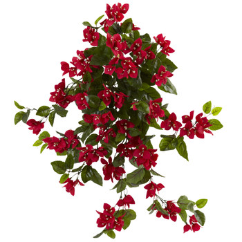 28 Bougainvillea Hanging Bush Artificial Plant Set of 2 UV Resistant Indoor/Outdoor - SKU #6132-S2-RD