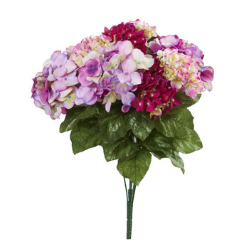 19 Hydrangea Artificial Plant Set of 3 - SKU #6134-S3-BU