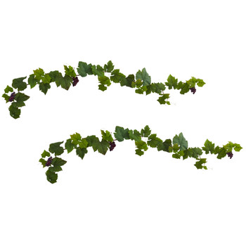 6 Grape Leaf Deluxe Garland w/Grapes Set of 2 - SKU #6157-S2