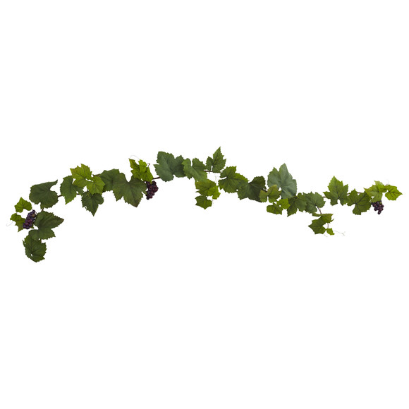 6 Grape Leaf Deluxe Garland w/Grapes Set of 2 - SKU #6157-S2 - 1