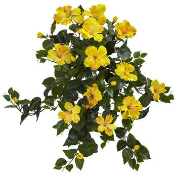 24 Hibiscus Hanging Artificial Plant Set of 2 - SKU #6171-S2