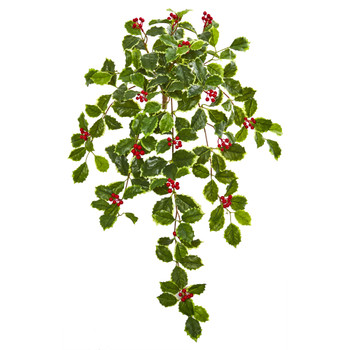 27 Variegated Holly Leaf w/Berries Hanging Bush Artificial Plant Set of 3 Real Touch - SKU #6188-S3
