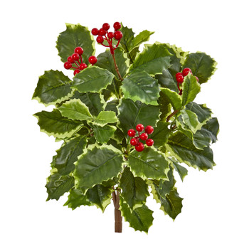 14 Variegated Holly Leaf Bush Artificial Plant Set of 12 Real Touch - SKU #6189-S12