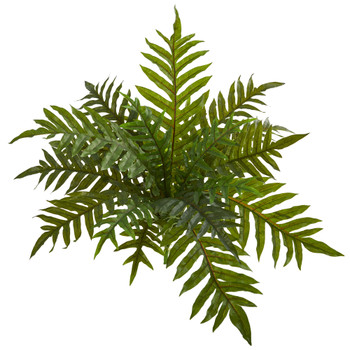 23 Hares Foot Fern Bush Artificial Plant Set of 3 Real Touch - SKU #6196-S3