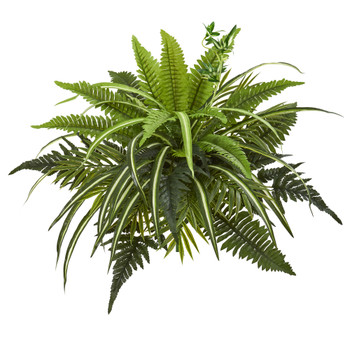 22 Mixed Greens and Fern Artificial Bush Plant Set of 3 - SKU #6208-S3