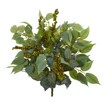 14 Mixed Ficus Fittonia and Berries Bush Artificial Plant Set of 6 - SKU #6215-S6