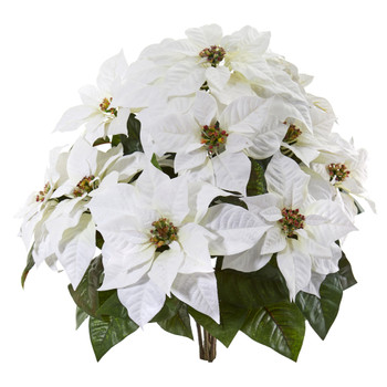 24 Poinsettia Artificial Plant Set of 2 - SKU #6271-S2