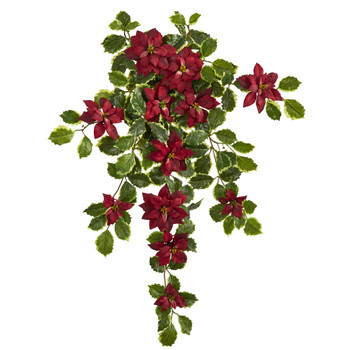 30 Poinsettia and Variegated Holly Artificial Plant Set of 2 Real Touch - SKU #6273-S2