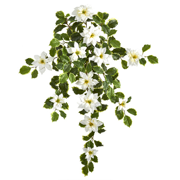 30 Poinsettia and Variegated Holly Artificial Plant Set of 2 Real Touch - SKU #6273-S2-WH