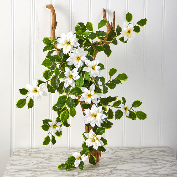 30 Poinsettia and Variegated Holly Artificial Plant Set of 2 Real Touch - SKU #6273-S2-WH - 2
