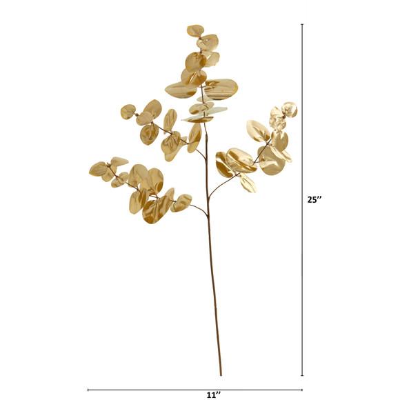 25 Metallic Eucalyptus Artificial Plant Set of 24 - SKU #6275-S24 - 1