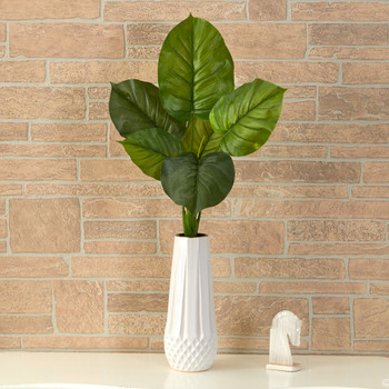 27 Large Philodendron Leaf Artificial Bush Plant Set of 4 - SKU #6278-S4