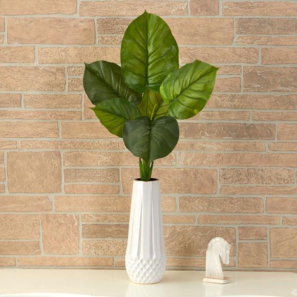 27 Large Philodendron Leaf Artificial Bush Plant Set of 4 - SKU #6278-S4