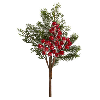 20 Iced Pine and Berries Artificial Plant Set of 4 - SKU #6285-S4