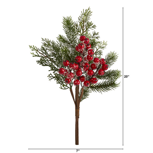 20 Iced Pine and Berries Artificial Plant Set of 4 - SKU #6285-S4 - 1
