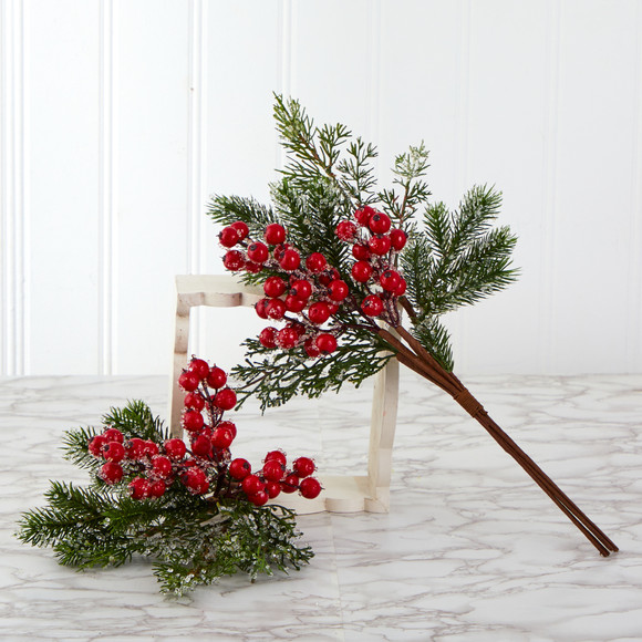 20 Iced Pine and Berries Artificial Plant Set of 4 - SKU #6285-S4 - 2