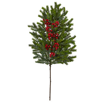 34 Pine and Berries Artificial Hanging Plant Set of 3 - SKU #6286-S3
