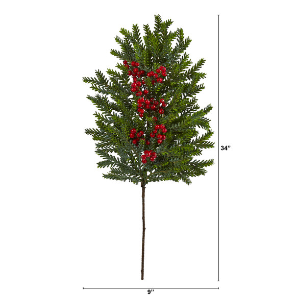 34 Pine and Berries Artificial Hanging Plant Set of 3 - SKU #6286-S3 - 1