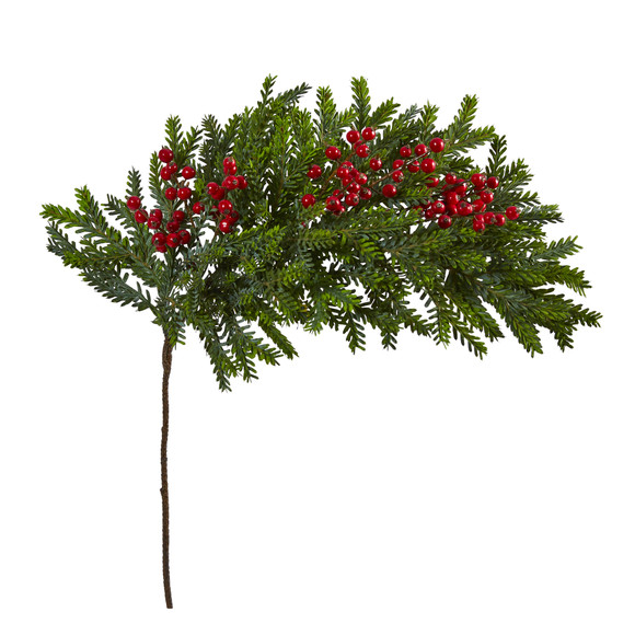 34 Pine and Berries Artificial Hanging Plant Set of 3 - SKU #6286-S3 - 2