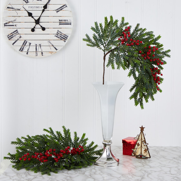 34 Pine and Berries Artificial Hanging Plant Set of 3 - SKU #6286-S3 - 3