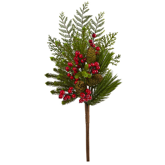 26 Mixed Pine Pinecone and Berry Artificial Plant Set of 3 - SKU #6287-S3