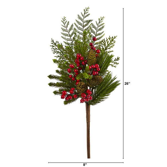26 Mixed Pine Pinecone and Berry Artificial Plant Set of 3 - SKU #6287-S3 - 1