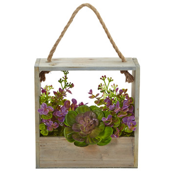 Echeveria Succulent and Eucalyptus Artificial Plant in Hanging Frame - SKU #6300