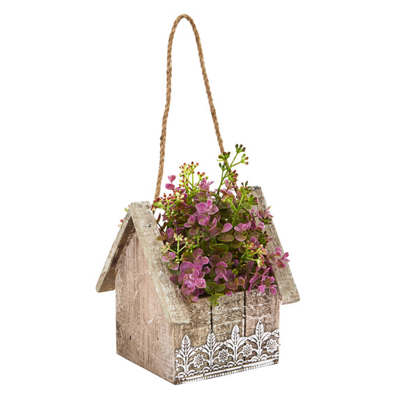 Sedum and Eucalyptus Artificial Plant in Birdhouse Hanging Basket - SKU #6302