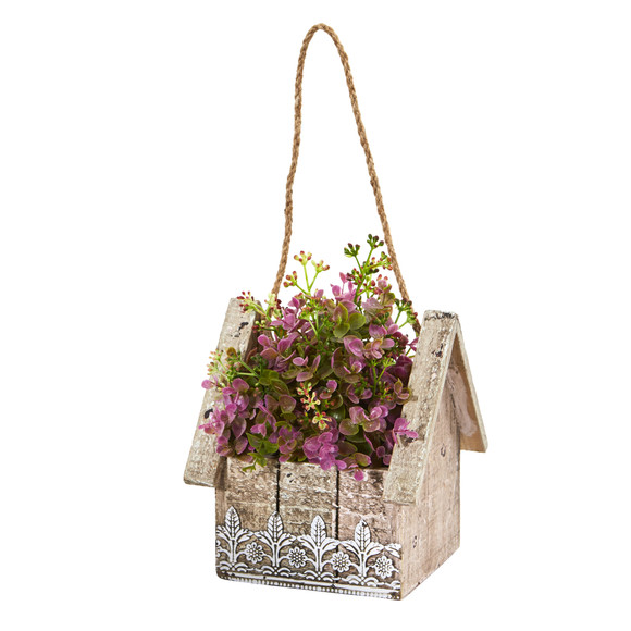 Sedum and Eucalyptus Artificial Plant in Birdhouse Hanging Basket - SKU #6302 - 1