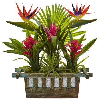 Birds of Paradise and Bromeliad in Planter - SKU #6306