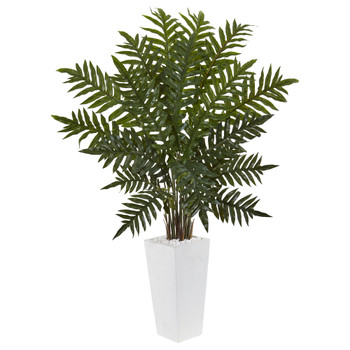 4.5 Evergreen Plant in White Tower Planter - SKU #6318
