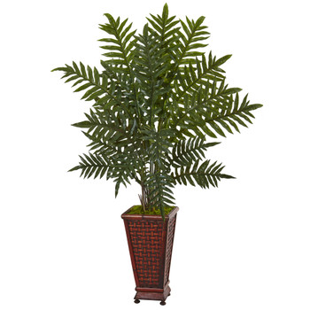 4 Evergreen Plant in Round Wood Planter - SKU #6321