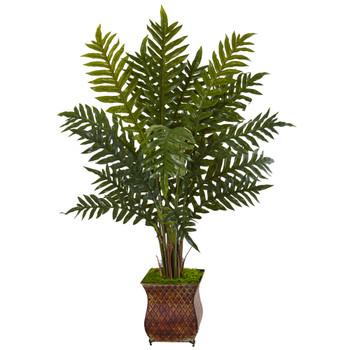 4 Evergreen Plant in Metal Planter - SKU #6322