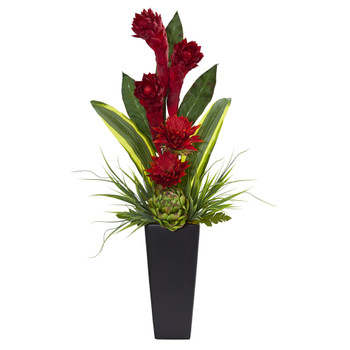 Ginger and Artichoke Artificial Tropical Arrangement in Black Vase - SKU #6360
