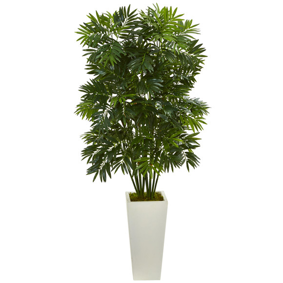 49 Mini Bamboo Palm Artificial Pant in White Tower Planter - SKU #6363