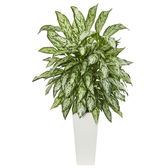Silver Queen Artificial Plant in White Tower Planter - SKU #6365