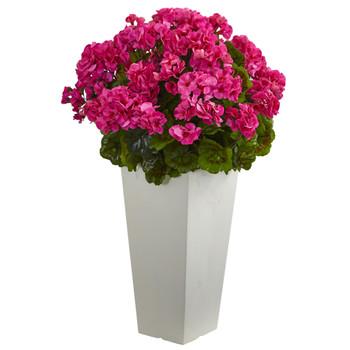 27 Geranium Artificial Plant in White Planter UV Resistant Indoor/Outdoor - SKU #6366