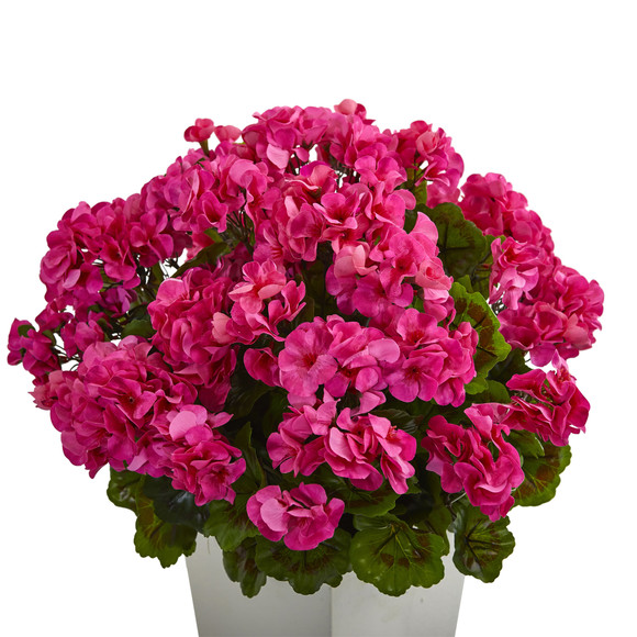 27 Geranium Artificial Plant in White Planter UV Resistant Indoor/Outdoor - SKU #6366 - 1
