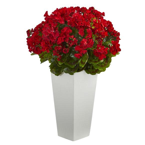 27 Geranium Artificial Plant in White Planter UV Resistant Indoor/Outdoor - SKU #6366 - 2