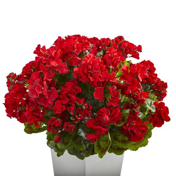27 Geranium Artificial Plant in White Planter UV Resistant Indoor/Outdoor - SKU #6366 - 3