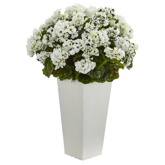 27 Geranium Artificial Plant in White Planter UV Resistant Indoor/Outdoor - SKU #6366 - 4