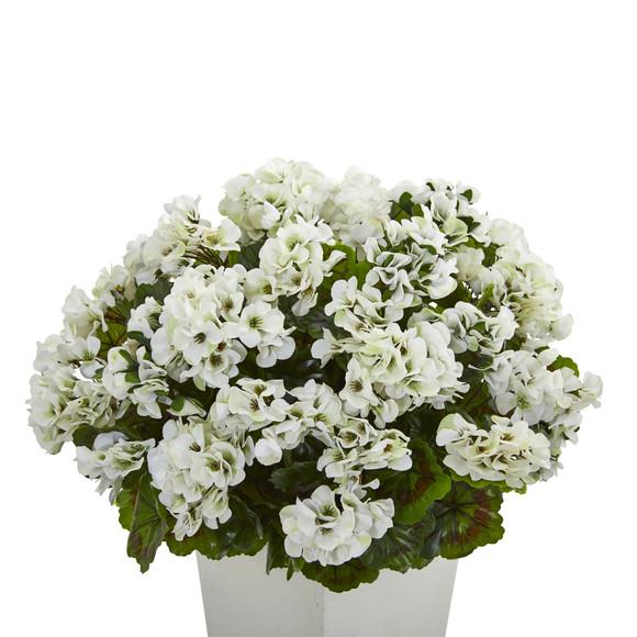 27 Geranium Artificial Plant in White Planter UV Resistant Indoor/Outdoor - SKU #6366 - 5