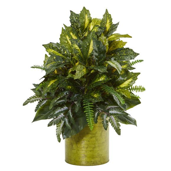 28 Mixed Greens Artificial Plant in Green Tin Planter - SKU #6369