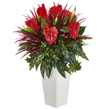 Mixed Anthurium Artificial Plant in White Tower Vase - SKU #6370