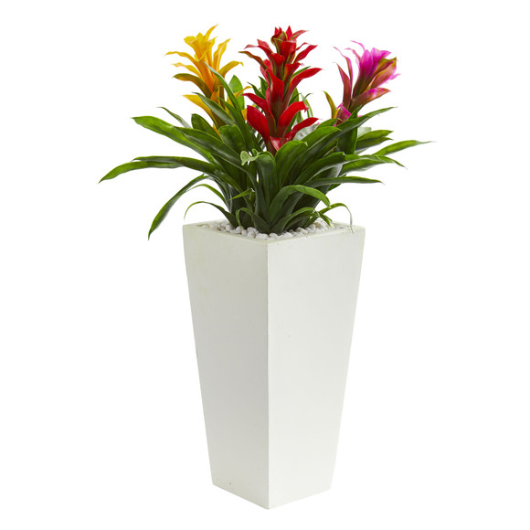 Triple Bromeliad Artificial Plant in White Tower Planter - SKU #6372 - 5